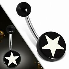 Piercing Navel Stainless Steel with Circle round Starry in Acrylique Black