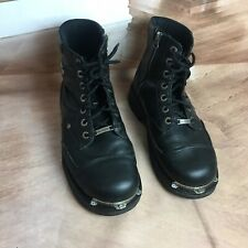 Harley Davidson Men's 9.5M Black Lace Up Zip Leather Motorcycle Boots