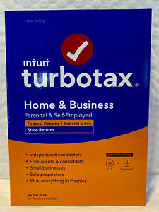TurboTax Home & Business 2020 Tax Software, 4 Federal Returns E-file PC/Mac Disc
