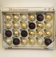 Vintage Set Of 24 Glass Christmas Ball Ornaments Rauch Dark Red Gold Pearl White