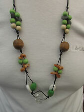 """A MULTI-COLOURED RESIN & WOODEN BEAD CORD NECKLACE. 32""""."""