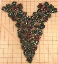 Large beaded sequins bodice applique dark green & purple 15""