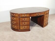 Baker Furniture Company Oval 3-Piece Leather Top Mahogany Partner's Desk