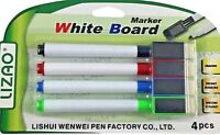 4 Magnetic Dry Wipe Pens White Board Markers with Eraser . UK Based Seller. NEW