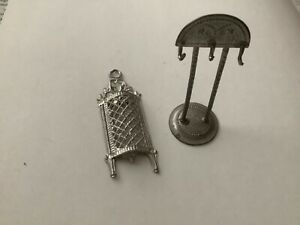 Miniature antique German dolls house soft metal cheese grater and stand