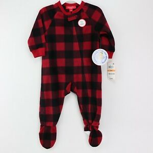 Matching Family Pajamas Baby Buffalo Check Footed 12 Months Black Red