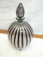 Striped Hand Blown Art Glass Ball Decanter with Stopper Bottle Jar Ornate