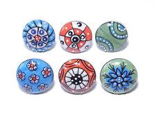 Schrankknöpfe / große Möbelknöpfe  Keramik , Muster gemischt 6 Stück