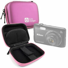 Shock Absorbant Pink Hard Case for Nikon Coolpix A300 Camera w/ Carabiner Clip