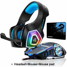 LED Gaming Headphone Mic Mouse Bundle Color Changing Headset Cool Gamer Over Ear