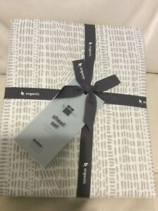 West Elm Bomu Organic Percale Queen Sheet Set NWT Stone Gray