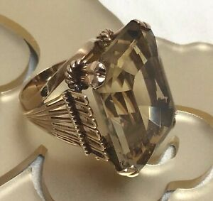 RETRO 18K SMOKY QUARTZ YELLOW GOLD RING SIZE 7 1/4 (55)