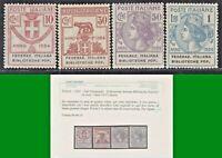 ITALY REGNO 1924 PARASTATALI FEDERAZ ITALIANA BIBBL POPOL S.2906 4v MNH** CERT