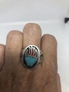 Vintage Silver White Bronze Size 11 Southwest Men's Bear Paw Stone Inlay Ring