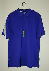 NWT Adidas Climacool Men's Vibrant Purple 3-Stripe Pique SS Golf Polo sz Large