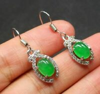 Gold Plate Icy Green JADE Earrings Earrings Cabochon Diamond Imitation 100732