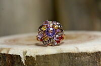 14Kt Rose Gold Le Vian Multi Colored Stone Cluster Ring Size 7