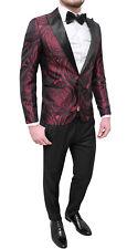 Traje Hombre Completo Satén Floral Rojo Smoking Elegante Novio Testigo Boda