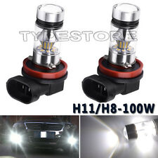 2x 100W H11 H8 High Power Samsung 6000K White LED Fog Driving Light Bulbs