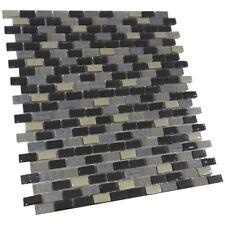 Bleu & noir mosaïque de verre carreaux cuisine mur 8mm échantillons tuile