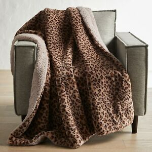 "Better Homes Gardens Cheetah Faux Fur Throw Sherpa Blanket 50 x 60"" Brown Animal"