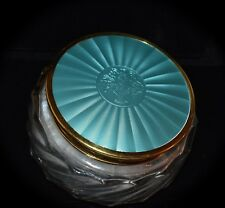 Gorgeous Antique Enamel Guilloche Vanity Jar ENGLAND & FRENCH SWAN'S DOWN PUFF