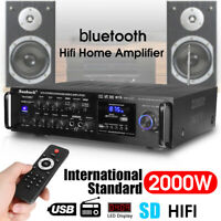 2000W 5 Channel 110V bluetooth Amplifier Receiver Mixer System HIFI Mic Home Car