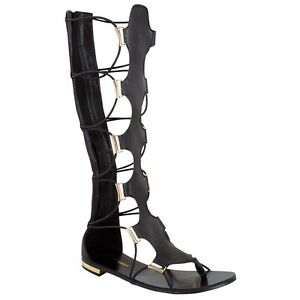 KCPer Women Leather Lace Up Knee High Gladiator Flat Sandals Over The Knee Strappy Boots Shoes