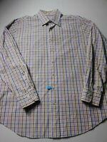 Peter Millar Mens Shirt Size L Beige Check Long Sleeve Button Front Cotton