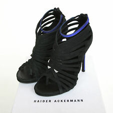 HAIDER ACKERMANN $1365 strappy cut out shoes leather carbon horse heels 38.5 NEW