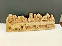 """Vintage The Last Supper 3D Wall Plaque Hanging Home Decor Heavy Resin 14""""x5"""""""