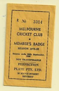 Melbourne Cricket Club Members badge envelope only for season 1979-80 no R3314