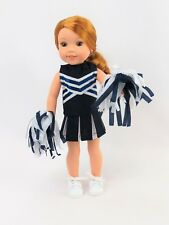 """Navy Blue Cheerleader Outfit Fits 14.5"""" Wellie Wisher American Girl Doll Clothes"""