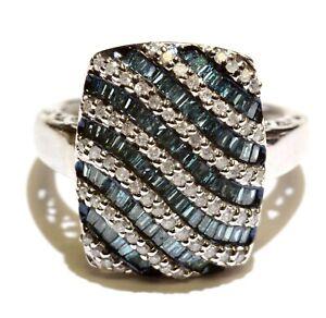 New 925 sterling silver 1.0ct blue white diamond fashion ring 4.2g womens 7.5