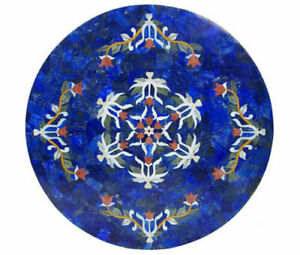 """24"""" Marble Dining Table Top Inlay Rare Semi Round Center Coffee Table AR0658"""