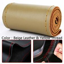 Universal DIY Beige Genuine Leather Car Steering Wheel Cover Case Needles&Thread
