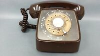RARE Vintage AUTOMATIC ELECTRIC GTE 1978 Brown Rotary Dial Desktop Phone