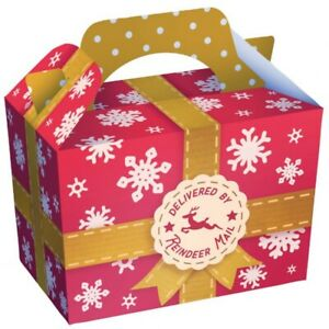 12 x Christmas Carry Meal Box Reindeer Mail Cookie Box Kids Party Treat Box