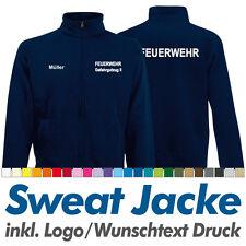 Sweatjacke FEUERWEHR navy, Fruit of the Loom, Sweat Jacke inkl. Wunschdruck Logo