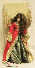 """Franklin Heirloom Noel Angel Doll 23"""" Christmas Box Gold Wings Halo Red Gown"""