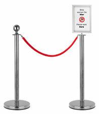 Personenleitsystem Abgrenzungsständer Absperrung Set 1,5m Seil Infoschild Silber