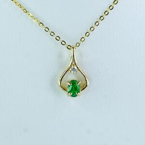 18K Yellow Gold Colombian Emerald Halo Diamond Pendant Necklace
