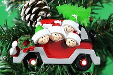 PERSONALISED CHRISTMAS TREE DECORATION CAR  FAMILY OF 4