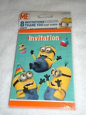 NEW DESPICABLE ME BIRTHDAY PARTY INVITATIONS & THANK-YOU POST CARDS 8 EACH