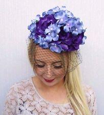 Purple Blue Black Birdcage Veil Flower Fascinator Races Net Headband Unique 3525