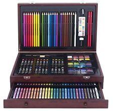 Drawing Pencils Color Art Set 142 Piece Artist Sketch Kit Deluxe Wood Case Gift