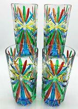 """""""SORRENTO"""" HIGHBALL GLASSES - SET OF FOUR - HAND PAINTED VENETIAN GLASSWARE"""