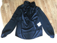 Silky black Zara tie-neck blouse With Sheer Arms -bnwt - Medium