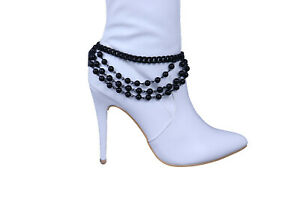 Women Black Metal Chain Boot Bracelet Western Shoe Charm Day Wear Simple Fashion