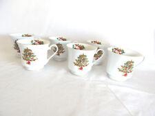 6 Crown Ming Fine Holiday China Jian Shiang Holly Christmas Cups